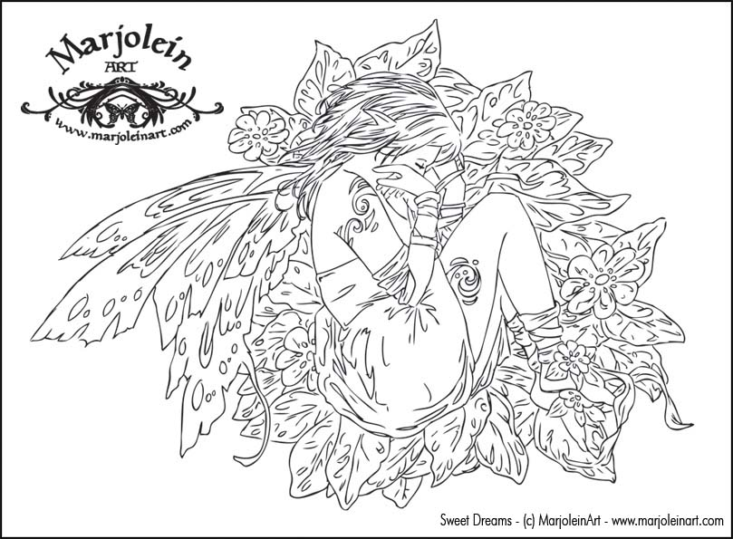 I did find one free coloring page at Marjolein's site.